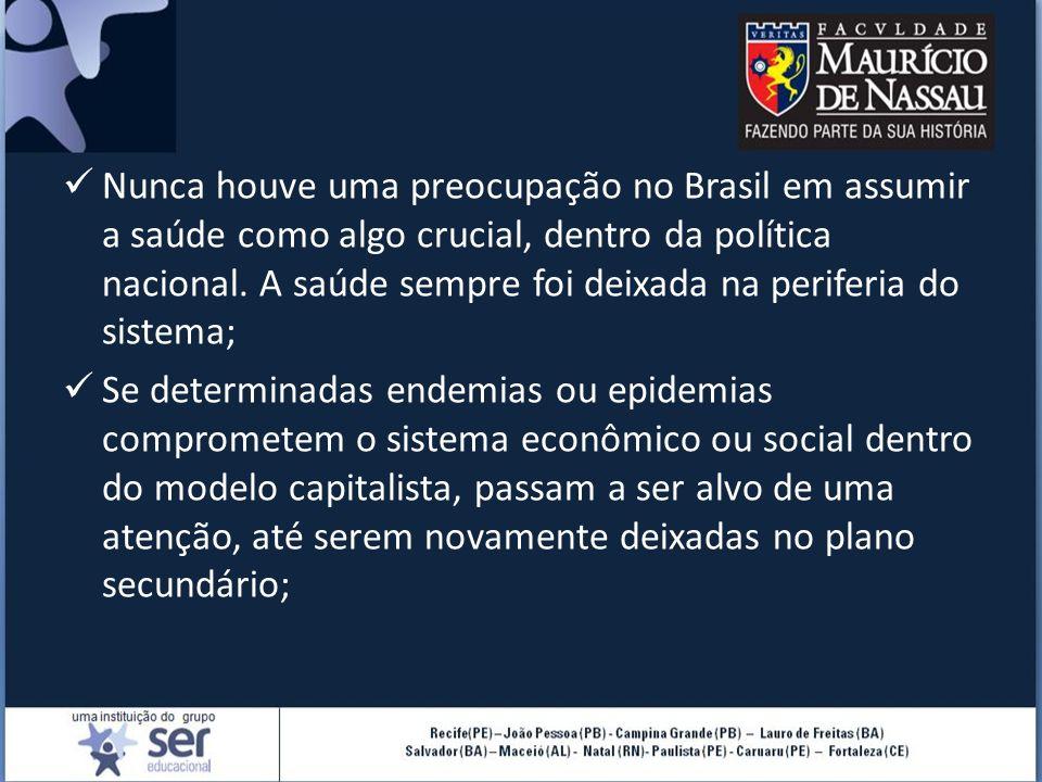Nunca houve uma preocupação no Brasil em assumir a saúde como algo crucial, dentro da política nacional. A saúde sempre foi deixada na periferia do si