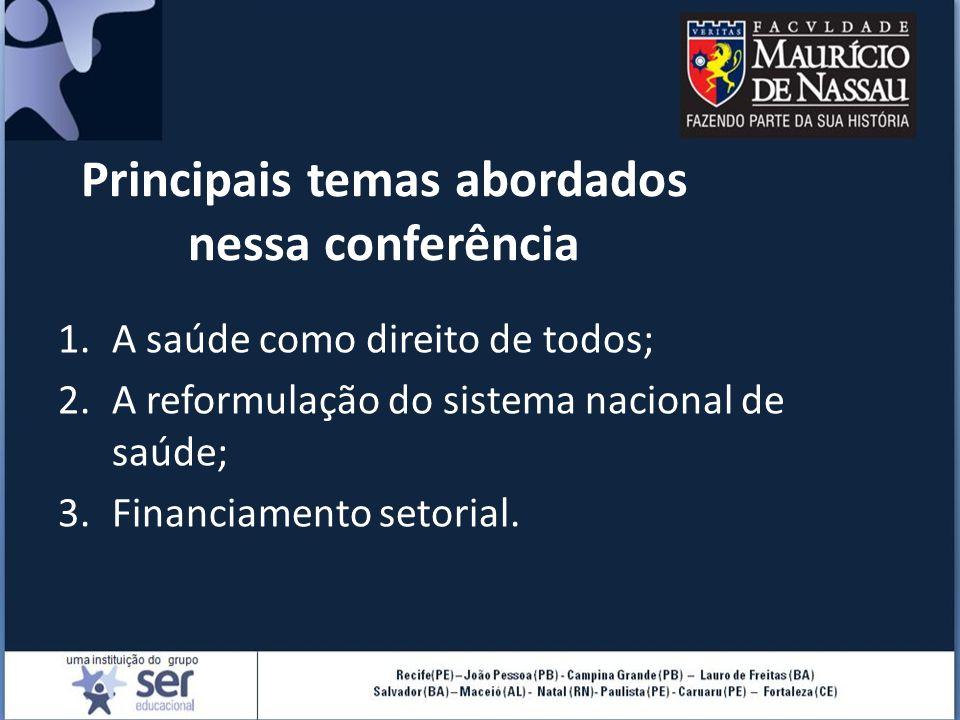 Principais temas abordados nessa conferência 1.A saúde como direito de todos; 2.A reformulação do sistema nacional de saúde; 3.Financiamento setorial.