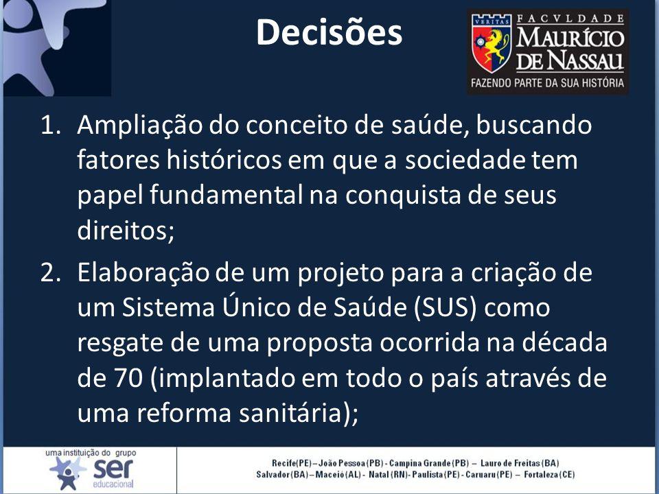Decisões 1.Ampliação do conceito de saúde, buscando fatores históricos em que a sociedade tem papel fundamental na conquista de seus direitos; 2.Elabo