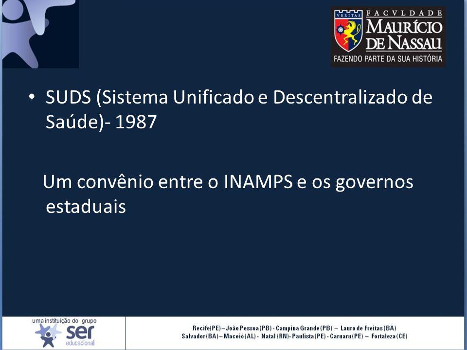 SUDS (Sistema Unificado e Descentralizado de Saúde)- 1987 Um convênio entre o INAMPS e os governos estaduais