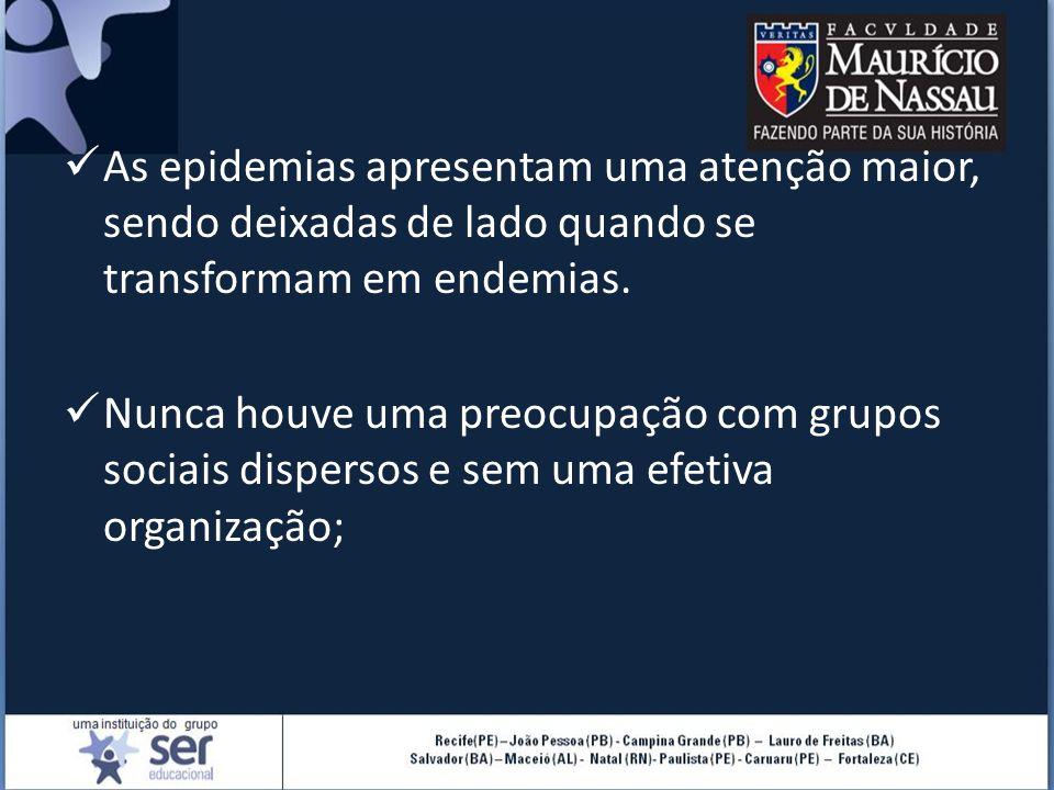 As epidemias apresentam uma atenção maior, sendo deixadas de lado quando se transformam em endemias. Nunca houve uma preocupação com grupos sociais di