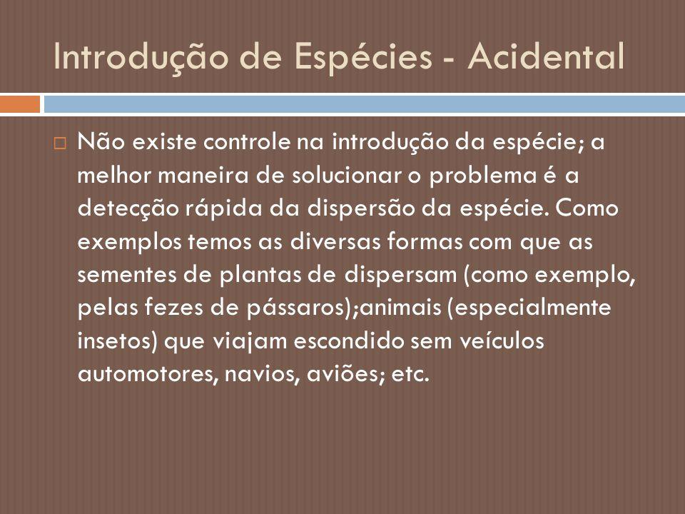 Introdução de Espécies - Acidental  Não existe controle na introdução da espécie; a melhor maneira de solucionar o problema é a detecção rápida da di