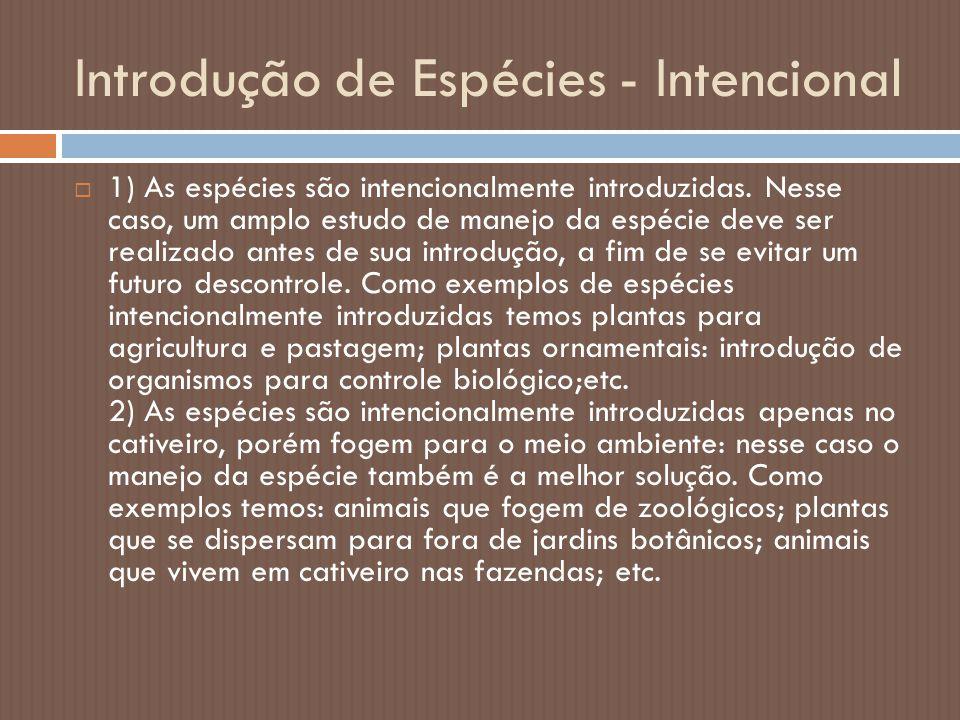 Introdução de Espécies - Intencional  1) As espécies são intencionalmente introduzidas. Nesse caso, um amplo estudo de manejo da espécie deve ser rea