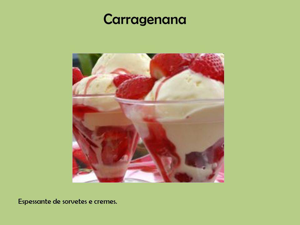 Espessante de sorvetes e cremes. Carragenana
