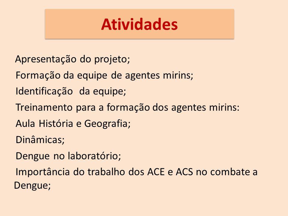 Atividades Apresentação do projeto; Formação da equipe de agentes mirins; Identificação da equipe; Treinamento para a formação dos agentes mirins: Aula História e Geografia; Dinâmicas; Dengue no laboratório; Importância do trabalho dos ACE e ACS no combate a Dengue;