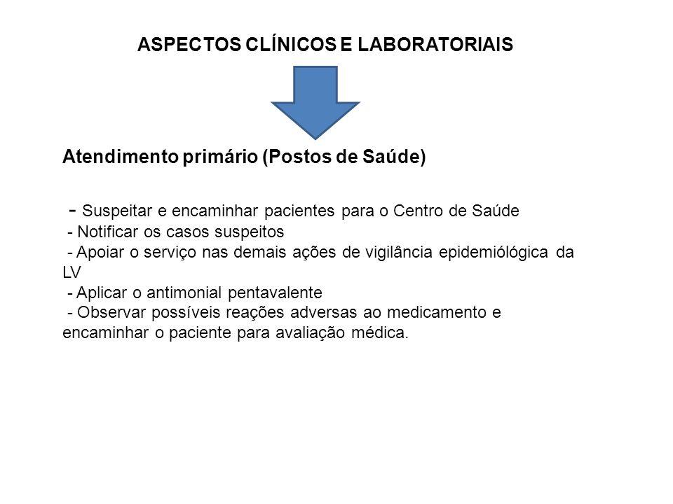 ASPECTOS CLÍNICOS E LABORATORIAIS Atendimento primário (Postos de Saúde) - Suspeitar e encaminhar pacientes para o Centro de Saúde - Notificar os caso