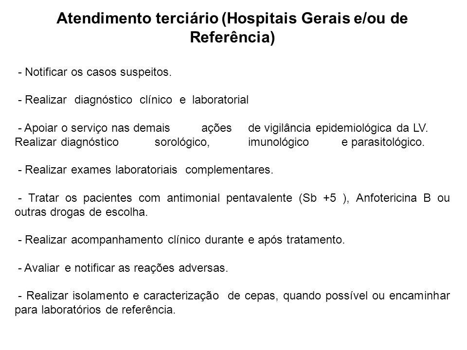 Atendimento terciário (Hospitais Gerais e/ou de Referência) - Notificar os casos suspeitos. - Realizar diagnóstico clínico e laboratorial - Apoiaro se