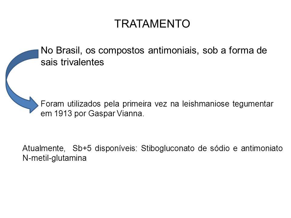 TRATAMENTO No Brasil, os compostos antimoniais, sob a forma de sais trivalentes Foram utilizados pela primeira vez na leishmaniose tegumentar em 1913