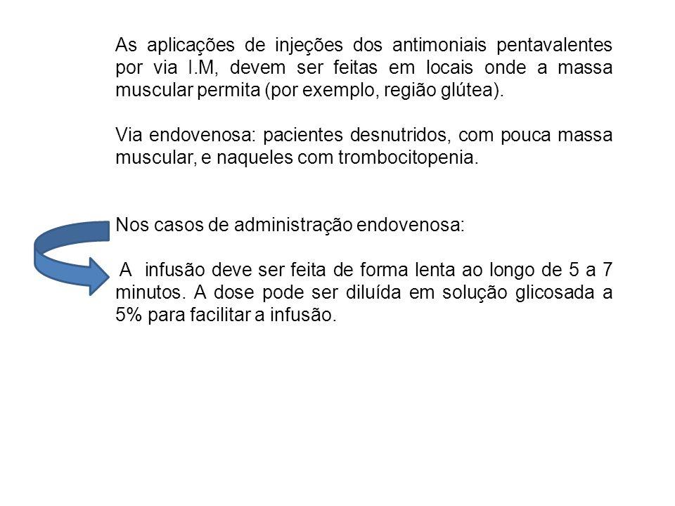 As aplicações de injeções dos antimoniais pentavalentes por via I.M, devem ser feitas em locais onde a massa muscular permita (por exemplo, região glú
