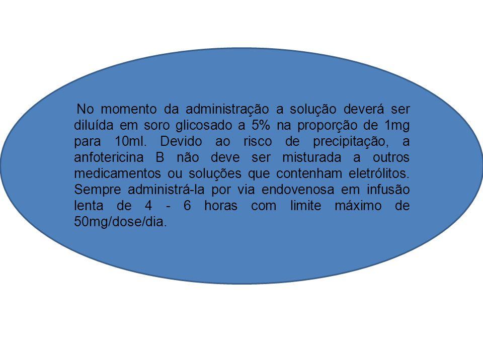 No momento da administração a solução deverá ser diluída em soro glicosado a 5% na proporção de 1mg para 10ml. Devido ao risco de precipitação, a anfo