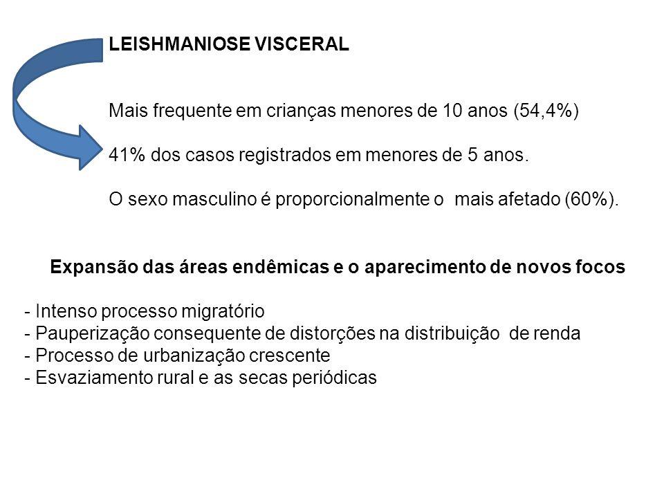 LEISHMANIOSE VISCERAL Mais frequente em crianças menores de 10 anos (54,4%) 41% dos casos registrados em menores de 5 anos. O sexo masculino é proporc