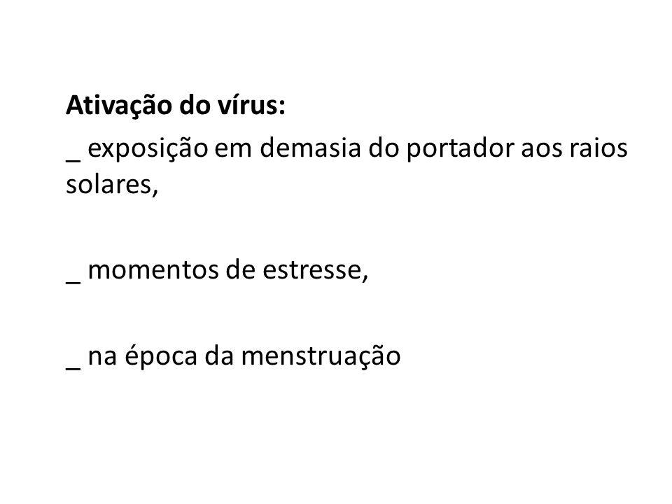 Ativação do vírus: _ exposição em demasia do portador aos raios solares, _ momentos de estresse, _ na época da menstruação