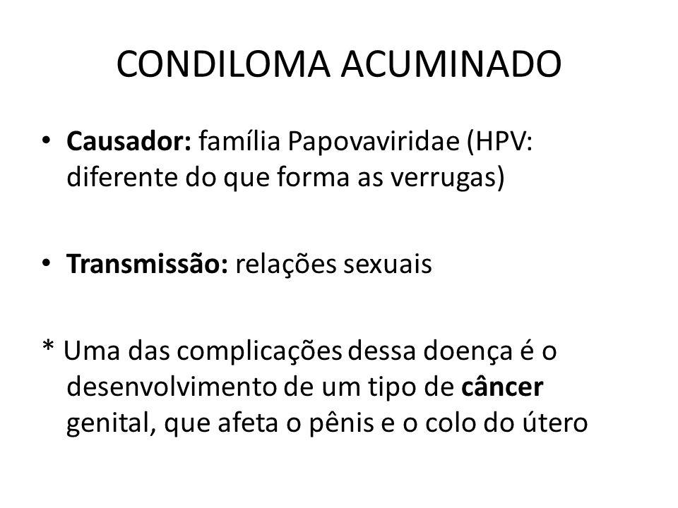 CONDILOMA ACUMINADO Causador: família Papovaviridae (HPV: diferente do que forma as verrugas) Transmissão: relações sexuais * Uma das complicações des