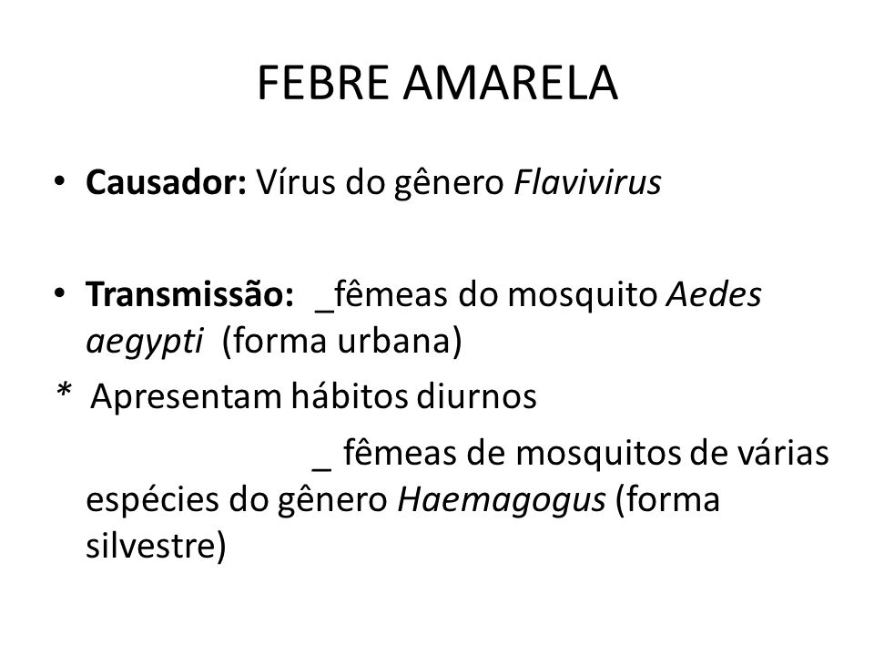 FEBRE AMARELA Causador: Vírus do gênero Flavivirus Transmissão: _fêmeas do mosquito Aedes aegypti (forma urbana) * Apresentam hábitos diurnos _ fêmeas