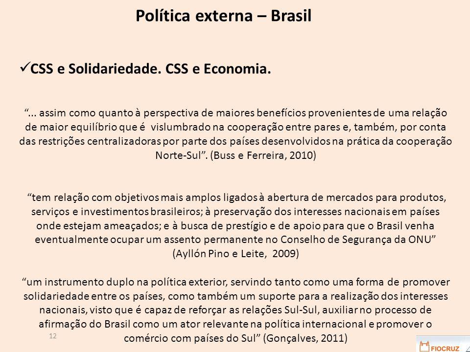 12 Política externa – Brasil CSS e Solidariedade. CSS e Economia.