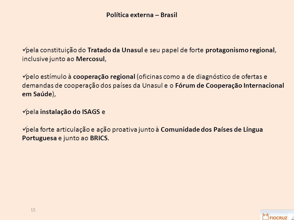 15 Política externa – Brasil pela constituição do Tratado da Unasul e seu papel de forte protagonismo regional, inclusive junto ao Mercosul, pelo estímulo à cooperação regional (oficinas como a de diagnóstico de ofertas e demandas de cooperação dos países da Unasul e o Fórum de Cooperação Internacional em Saúde), pela instalação do ISAGS e pela forte articulação e ação proativa junto à Comunidade dos Países de Língua Portuguesa e junto ao BRICS.