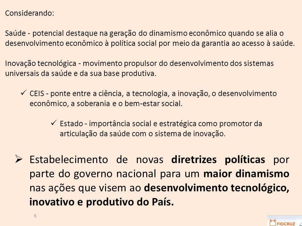Considerando: Saúde - potencial destaque na geração do dinamismo econômico quando se alia o desenvolvimento econômico à política social por meio da garantia ao acesso à saúde.