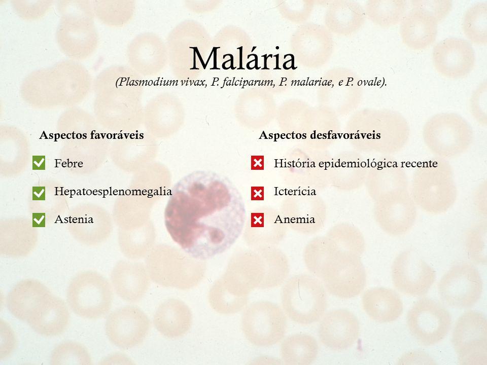 Aspectos desfavoráveis História epidemiológica recente Icterícia Anemia Malária Aspectos favoráveis Febre Hepatoesplenomegalia Astenia (Plasmodium viv