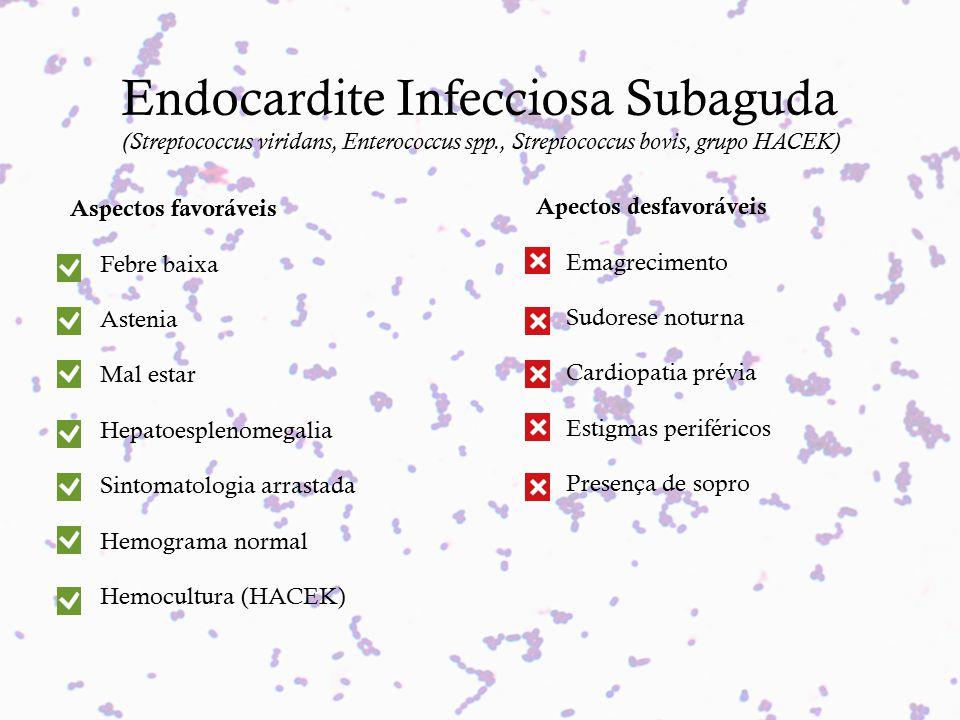 Endocardite Infecciosa Subaguda (Streptococcus viridans, Enterococcus spp., Streptococcus bovis, grupo HACEK) Aspectos favoráveis Febre baixa Astenia