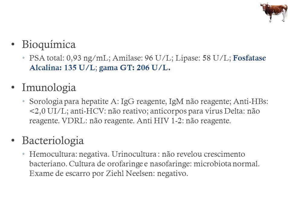 Bioquímica PSA total: 0,93 ng/mL; Amilase: 96 U/L; Lipase: 58 U/L; Fosfatase Alcalina: 135 U/L ; gama GT: 206 U/L. Imunologia Sorologia para hepatite