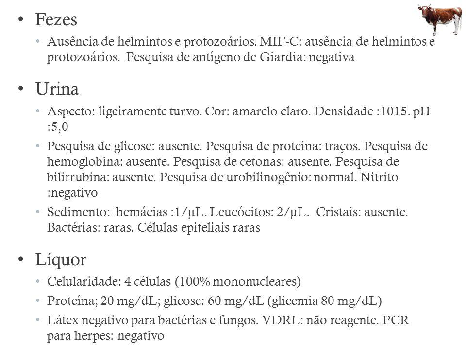 Fezes Ausência de helmintos e protozoários. MIF-C: ausência de helmintos e protozoários. Pesquisa de antígeno de Giardia: negativa Urina Aspecto: lige