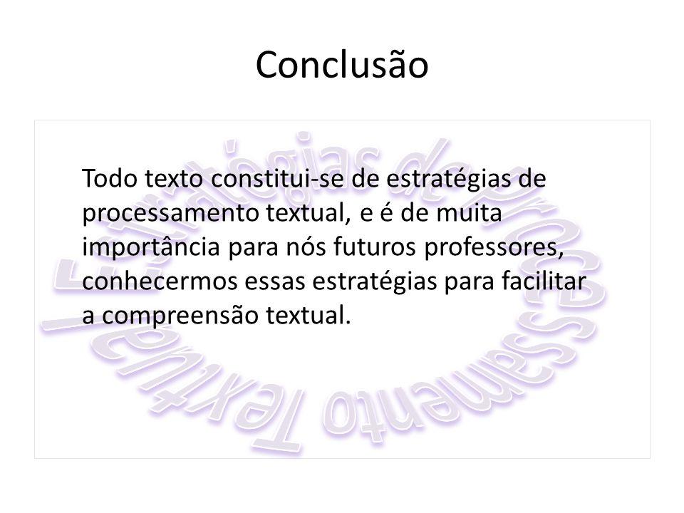 Conclusão Todo texto constitui-se de estratégias de processamento textual, e é de muita importância para nós futuros professores, conhecermos essas es