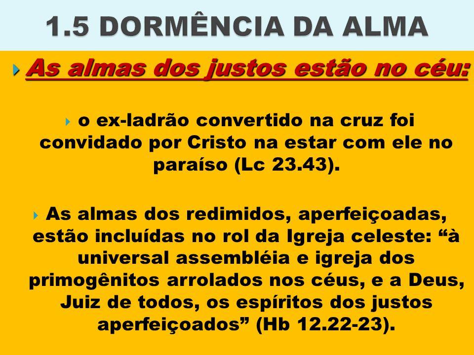  As almas dos justos estão no céu:  o ex-ladrão convertido na cruz foi convidado por Cristo na estar com ele no paraíso (Lc 23.43).  As almas dos r