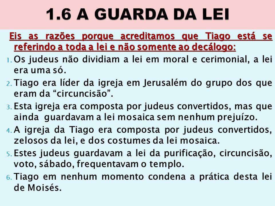 Eis as razões porque acreditamos que Tiago está se referindo a toda a lei e não somente ao decálogo: 1. Os judeus não dividiam a lei em moral e cerimo