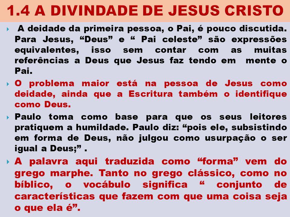 """ A deidade da primeira pessoa, o Pai, é pouco discutida. Para Jesus, """"Deus"""" e """" Pai celeste"""" são expressões equivalentes, isso sem contar com as muit"""