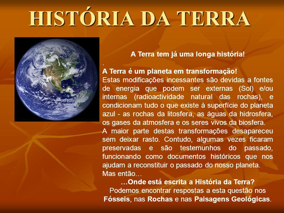 HISTÓRIA DA TERRA A Terra tem já uma longa história!.