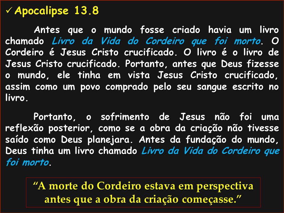 Apocalipse 13.8 Apocalipse 13.8 Antes que o mundo fosse criado havia um livro chamado Livro da Vida do Cordeiro que foi morto. O Cordeiro é Jesus Cris
