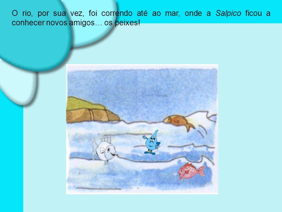 O rio, por sua vez, foi correndo até ao mar, onde a Salpico ficou a conhecer novos amigos… os peixes!