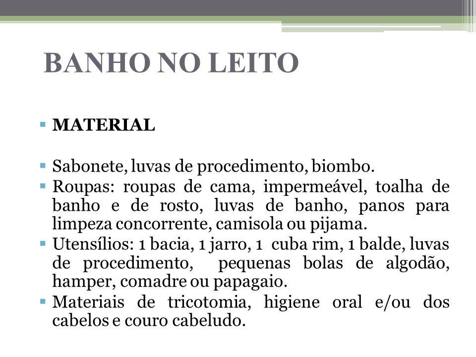 BANHO NO LEITO  MATERIAL  Sabonete, luvas de procedimento, biombo.