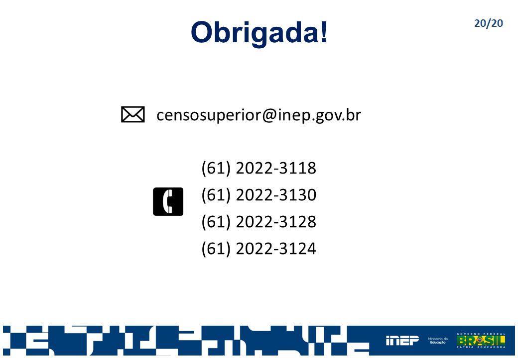 Obrigada! censosuperior@inep.gov.br (61) 2022-3118 (61) 2022-3130 (61) 2022-3128 (61) 2022-3124 20/20