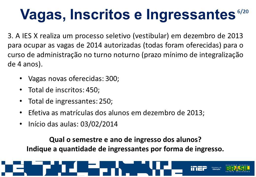 Vagas, Inscritos e Ingressantes 3. A IES X realiza um processo seletivo (vestibular) em dezembro de 2013 para ocupar as vagas de 2014 autorizadas (tod