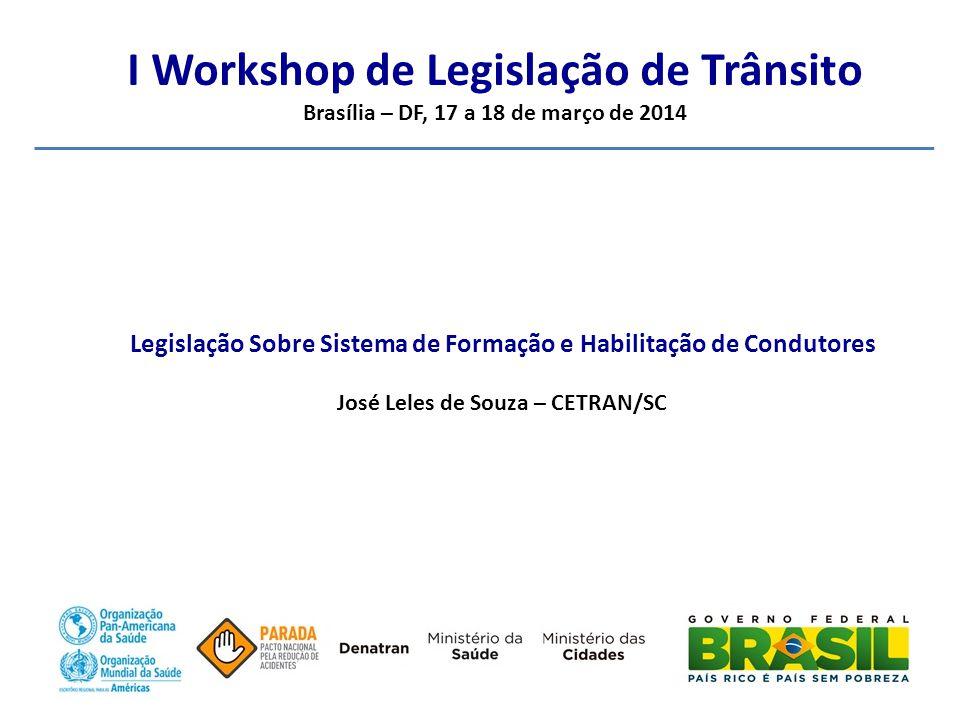I Workshop de Legislação de Trânsito Brasília – DF, 17 a 18 de março de 2014 Legislação Sobre Sistema de Formação e Habilitação de Condutores José Leles de Souza – CETRAN/SC