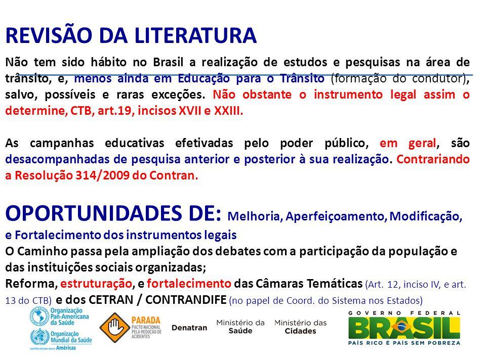 REVISÃO DA LITERATURA Não tem sido hábito no Brasil a realização de estudos e pesquisas na área de trânsito, e, menos ainda em Educação para o Trânsito (formação do condutor), salvo, possíveis e raras exceções.