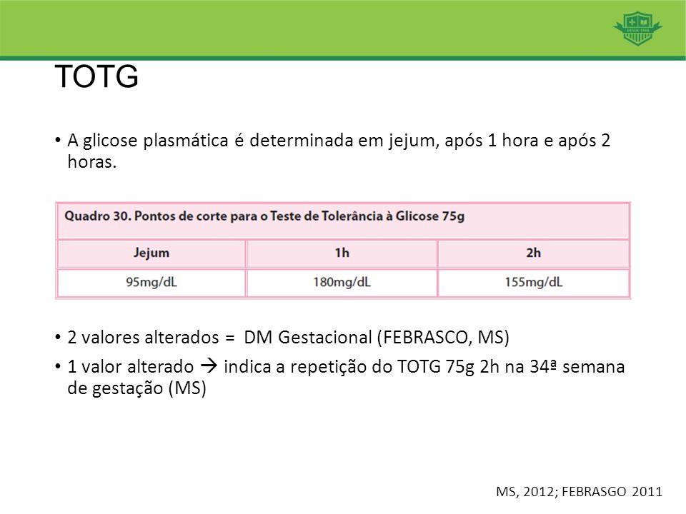 TOTG A glicose plasmática é determinada em jejum, após 1 hora e após 2 horas. 2 valores alterados = DM Gestacional (FEBRASCO, MS) 1 valor alterado  i