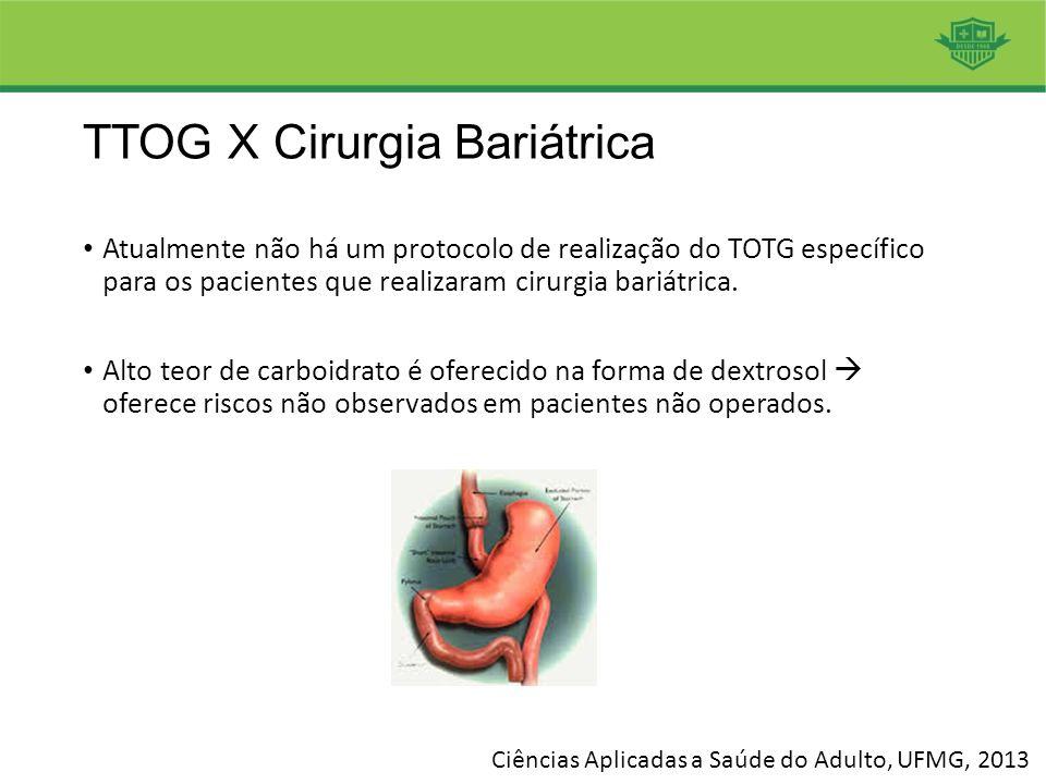 Atualmente não há um protocolo de realização do TOTG específico para os pacientes que realizaram cirurgia bariátrica. Alto teor de carboidrato é ofere