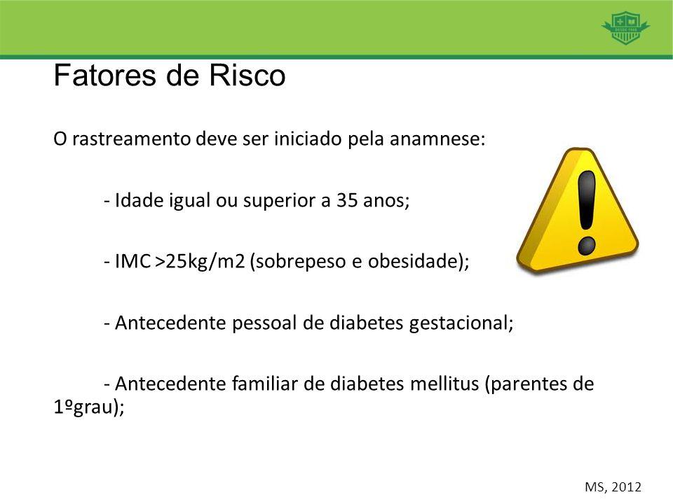 Fatores de Risco O rastreamento deve ser iniciado pela anamnese: - Idade igual ou superior a 35 anos; - IMC >25kg/m2 (sobrepeso e obesidade); - Antece