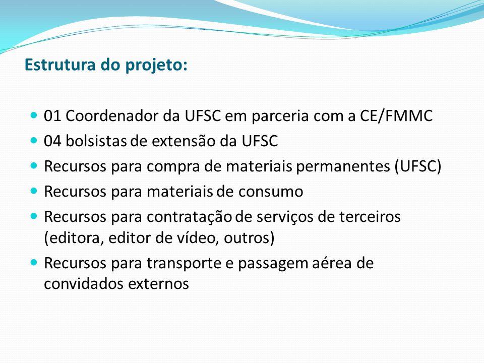 Estrutura do projeto: 01 Coordenador da UFSC em parceria com a CE/FMMC 04 bolsistas de extensão da UFSC Recursos para compra de materiais permanentes (UFSC) Recursos para materiais de consumo Recursos para contratação de serviços de terceiros (editora, editor de vídeo, outros) Recursos para transporte e passagem aérea de convidados externos