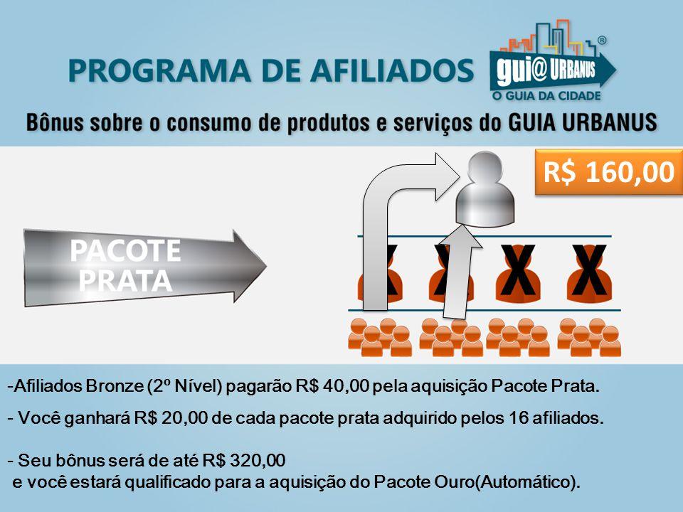 -Afiliados Bronze (2º Nível) pagarão R$ 40,00 pela aquisição Pacote Prata.