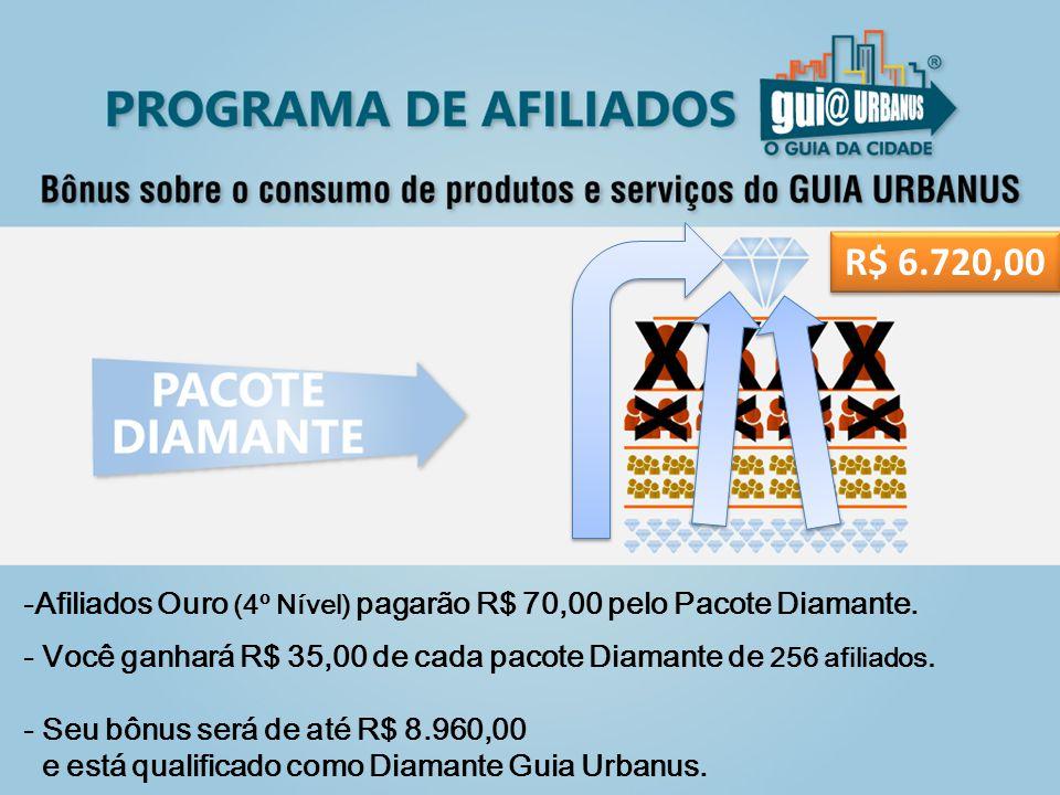 -Afiliados Ouro (4º Nível) pagarão R$ 70,00 pelo Pacote Diamante.