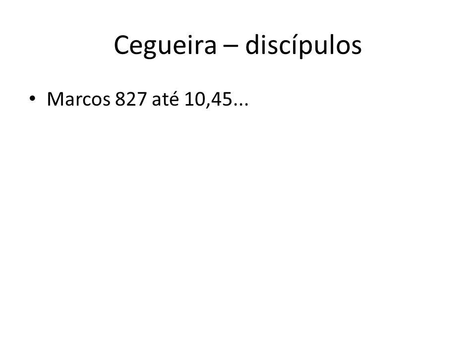 Cegueira – discípulos Marcos 827 até 10,45...