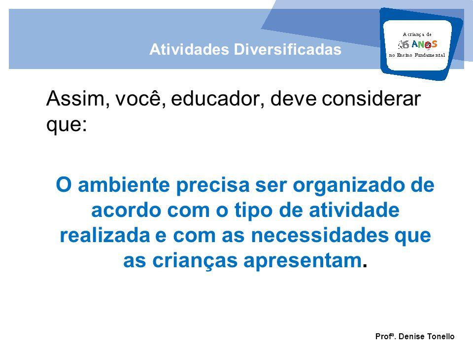 Assim, você, educador, deve considerar que: O ambiente precisa ser organizado de acordo com o tipo de atividade realizada e com as necessidades que as crianças apresentam.