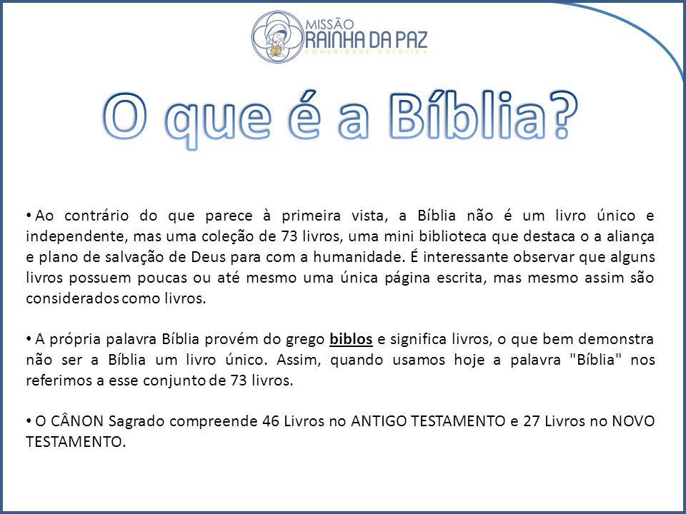 Ao contrário do que parece à primeira vista, a Bíblia não é um livro único e independente, mas uma coleção de 73 livros, uma mini biblioteca que destaca o a aliança e plano de salvação de Deus para com a humanidade.