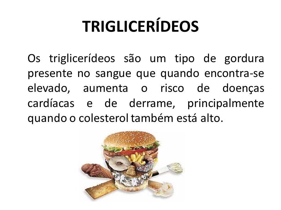 TRIGLICERÍDEOS Os triglicerídeos são um tipo de gordura presente no sangue que quando encontra-se elevado, aumenta o risco de doenças cardíacas e de d