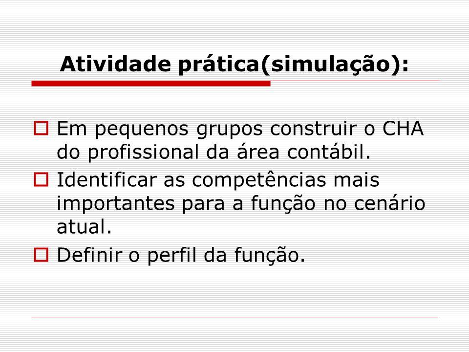 Atividade prática(simulação):  Em pequenos grupos construir o CHA do profissional da área contábil.