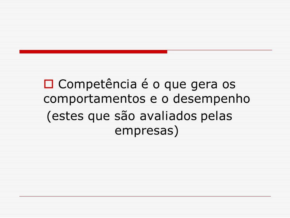  Competência é o que gera os comportamentos e o desempenho (estes que são avaliados pelas empresas)