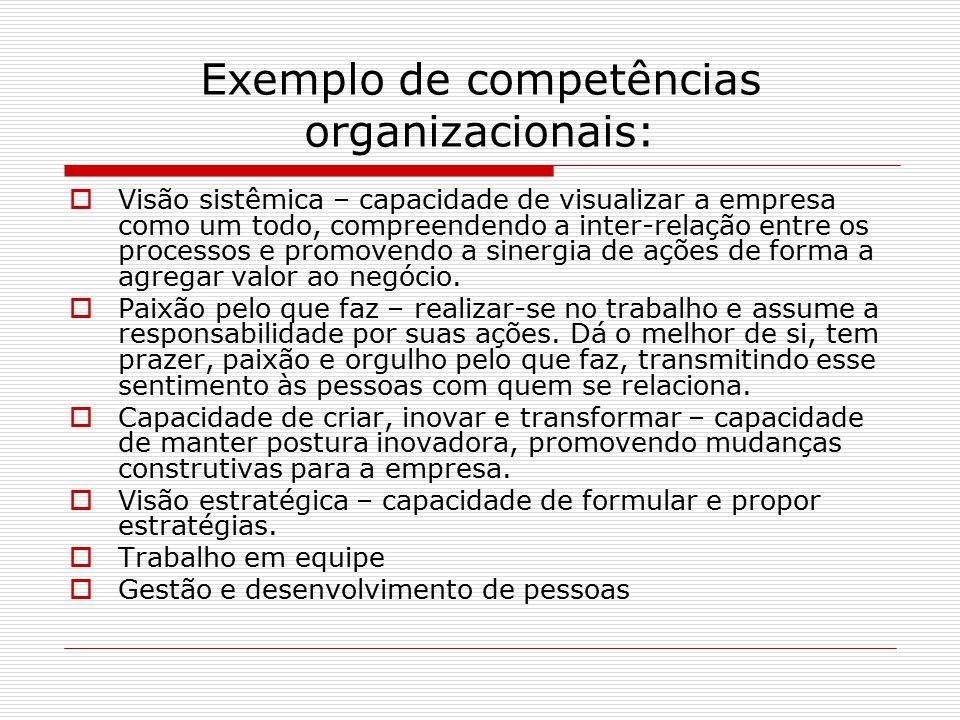 Exemplo de competências organizacionais:  Visão sistêmica – capacidade de visualizar a empresa como um todo, compreendendo a inter-relação entre os processos e promovendo a sinergia de ações de forma a agregar valor ao negócio.